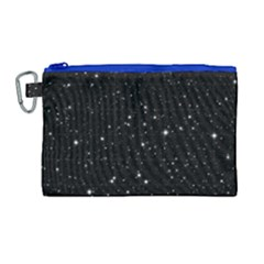 Black Background Texture Stars Canvas Cosmetic Bag (large) by Celenk