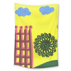Pink House And Fence Large Tapestry by snowwhitegirl