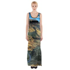 Nature Landscape Mountains Outdoor Maxi Thigh Split Dress