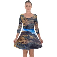 Nature Landscape Mountains Outdoor Quarter Sleeve Skater Dress