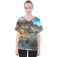 Nature Landscape Mountains Outdoor V Neck Dolman Drape Top