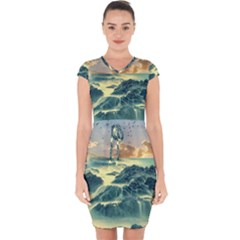 Coastline Sea Nature Sky Landscape Capsleeve Drawstring Dress