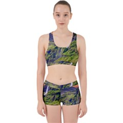 Waterfall Landscape Nature Scenic Work It Out Sports Bra Set by Celenk