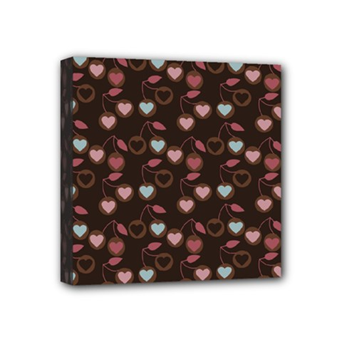 Heart Cherries Brown Mini Canvas 4  X 4  by snowwhitegirl