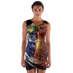 Climate Change Global Warming Wrap Front Bodycon Dress