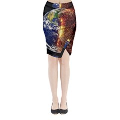 Climate Change Global Warming Midi Wrap Pencil Skirt by Celenk
