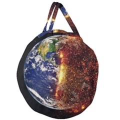 Climate Change Global Warming Giant Round Zipper Tote by Celenk