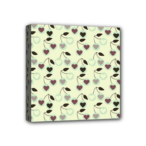 Heart Cherries Mint Mini Canvas 4  X 4  by snowwhitegirl