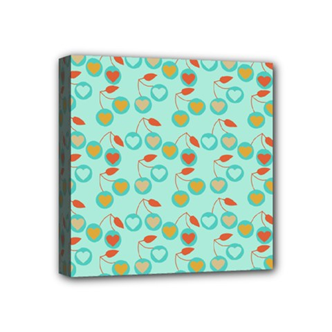 Light Teal Heart Cherries Mini Canvas 4  X 4  by snowwhitegirl