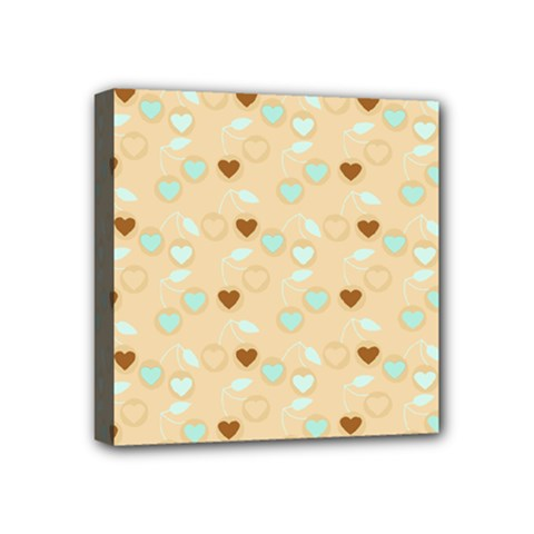 Beige Heart Cherries Mini Canvas 4  X 4  by snowwhitegirl