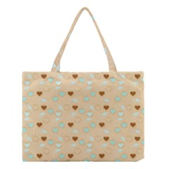 Beige Heart Cherries Medium Tote Bag by snowwhitegirl