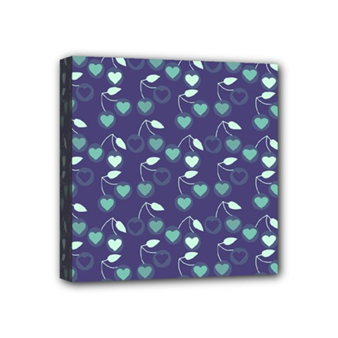 Heart Cherries Blue Mini Canvas 4  X 4  by snowwhitegirl