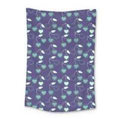 Heart Cherries Blue Small Tapestry by snowwhitegirl