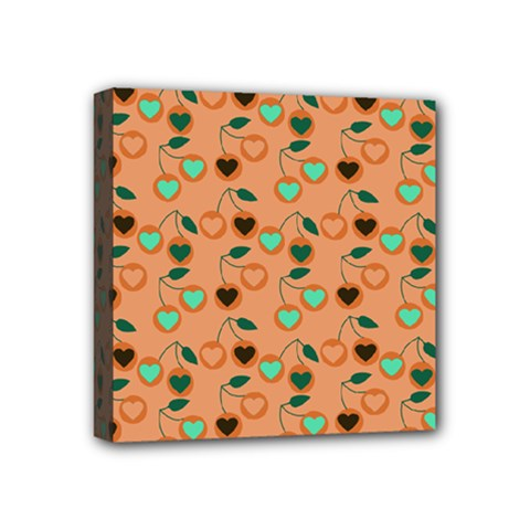 Peach Cherries Mini Canvas 4  X 4  by snowwhitegirl