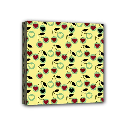 Yellow Heart Cherries Mini Canvas 4  X 4  by snowwhitegirl