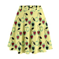 Yellow Heart Cherries High Waist Skirt by snowwhitegirl