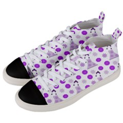 Lilac Dress On White Men s Mid Top Canvas Sneakers by snowwhitegirl