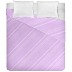 Lilac Diagonal Lines Duvet Cover Double Side (california King Size) by snowwhitegirl