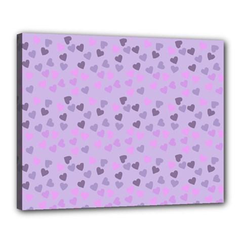 Heart Drops Violet Canvas 20  X 16  by snowwhitegirl