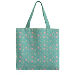 Teal Hearts And Hats Zipper Grocery Tote Bag by snowwhitegirl