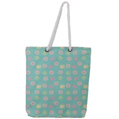 Teal Donuts And Milk Full Print Rope Handle Tote (large) by snowwhitegirl