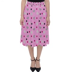 Pink Milk Hearts Folding Skater Skirt by snowwhitegirl