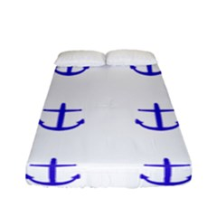 Royal Anchors On White Fitted Sheet (full/ Double Size) by snowwhitegirl