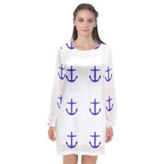 Royal Anchors On White Long Sleeve Chiffon Shift Dress