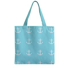 Aqua Anchor Zipper Grocery Tote Bag by snowwhitegirl