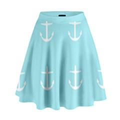 Aqua Anchor High Waist Skirt by snowwhitegirl