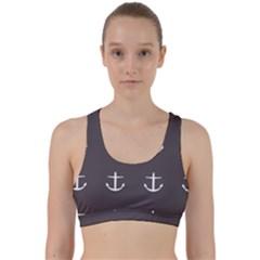 Grey Anchors Back Weave Sports Bra