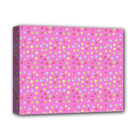 Pink Heart Drops Deluxe Canvas 14  X 11  by snowwhitegirl