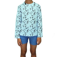 Blue Music Kids  Long Sleeve Swimwear by snowwhitegirl