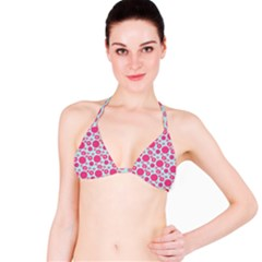 Blue Retro Dots Bikini Top by snowwhitegirl