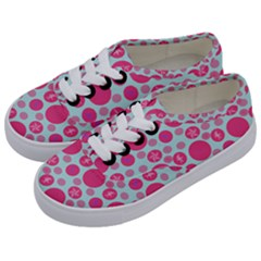Blue Retro Dots Kids  Classic Low Top Sneakers by snowwhitegirl