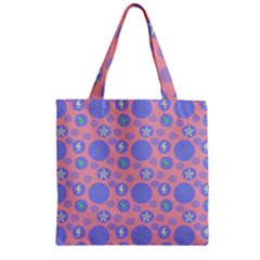 Pink Retro Dots Zipper Grocery Tote Bag by snowwhitegirl