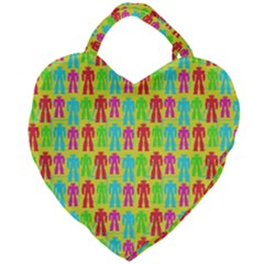 Colorful Robots Giant Heart Shaped Tote
