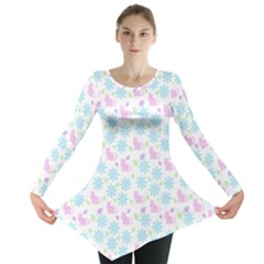 Cats And Flowers Long Sleeve Tunic  by snowwhitegirl