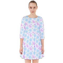 Cats And Flowers Smock Dress