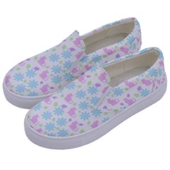 Cats And Flowers Kids  Canvas Slip Ons by snowwhitegirl