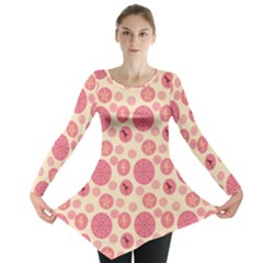 Cream Retro Dots Long Sleeve Tunic  by snowwhitegirl