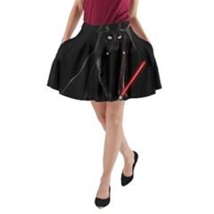 Darth Vader Cat A Line Pocket Skirt by Valentinaart