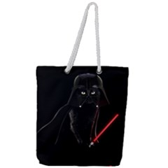 Darth Vader Cat Full Print Rope Handle Tote (large) by Valentinaart