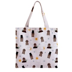 Groundhog Day Pattern Zipper Grocery Tote Bag by Valentinaart