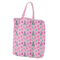 Green Dress Pink Giant Grocery Zipper Tote