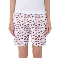 Red Cherries Women s Basketball Shorts by snowwhitegirl