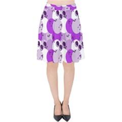 Purple Cherry Dots Velvet High Waist Skirt by snowwhitegirl
