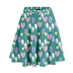 Ocean Cherry High Waist Skirt by snowwhitegirl