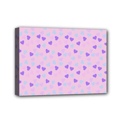 Blue Pink Hearts Mini Canvas 7  X 5  by snowwhitegirl