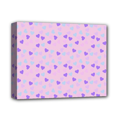 Blue Pink Hearts Deluxe Canvas 14  X 11  by snowwhitegirl
